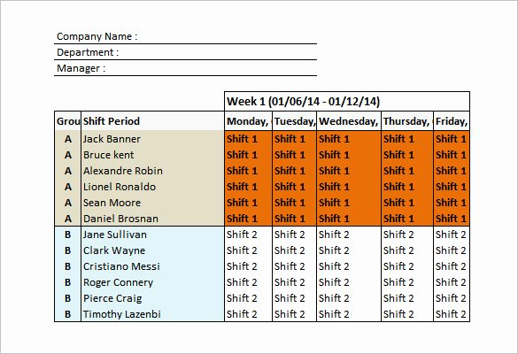 Monthly Employee Shift Schedule Template Luxury Shift Schedule Templates – 12 Free Word Excel Pdf