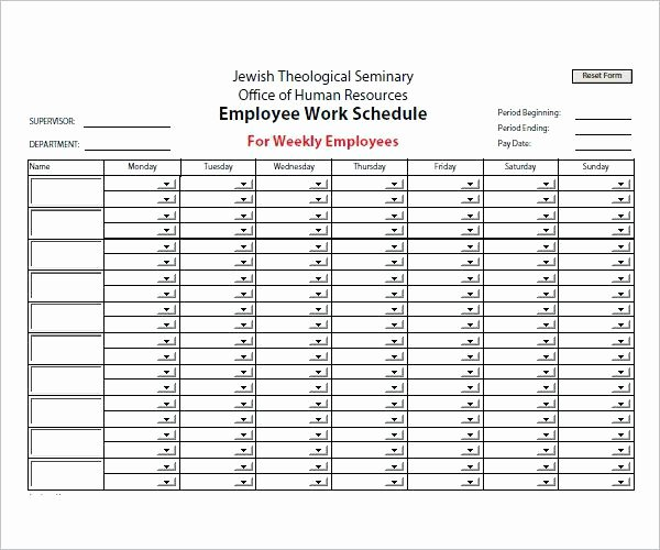 Monthly Employee Shift Schedule Template Luxury Weekly Employee Shift Schedule Template Excel Free and