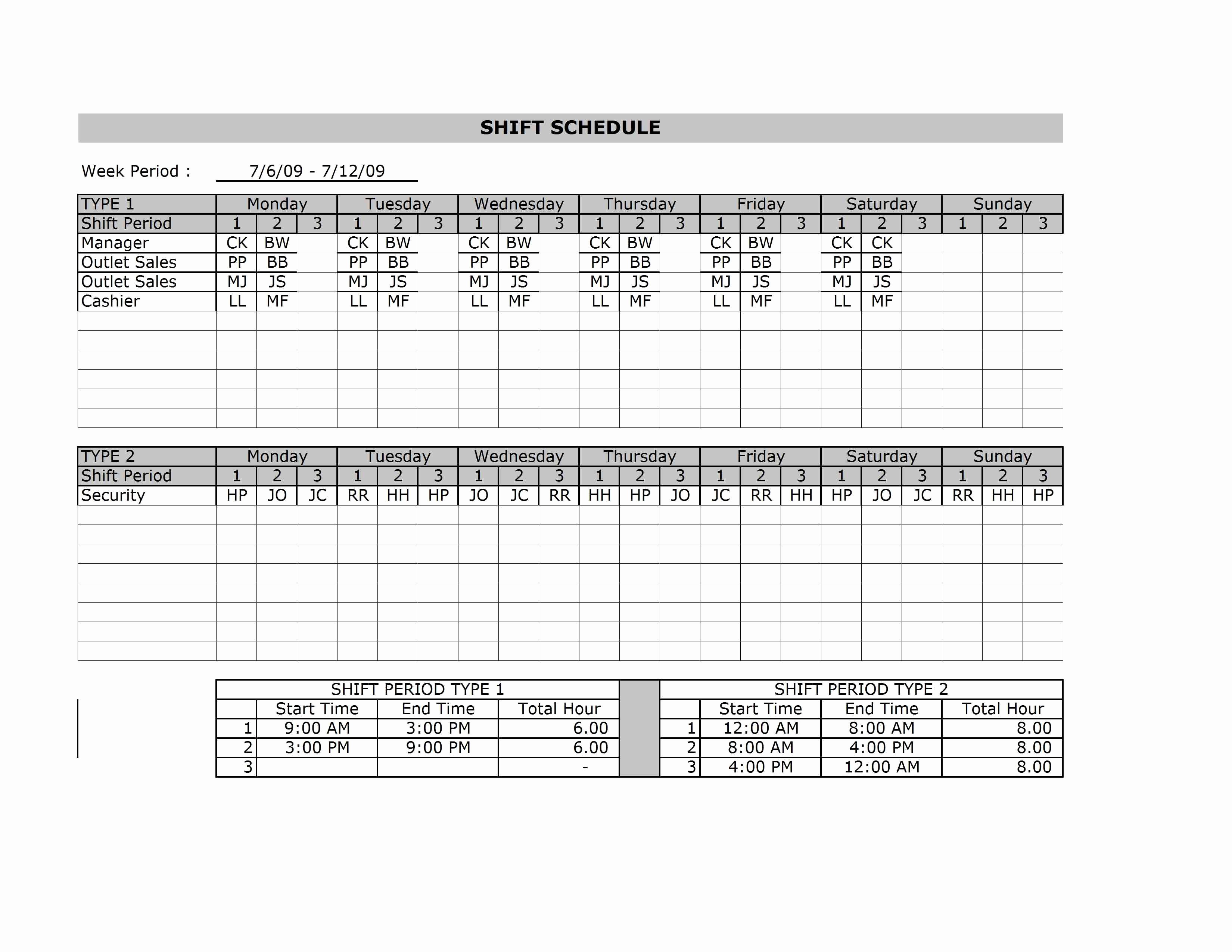 Monthly Employee Shift Schedule Template New Human Resources Archives Free Microsoft Excel Templates