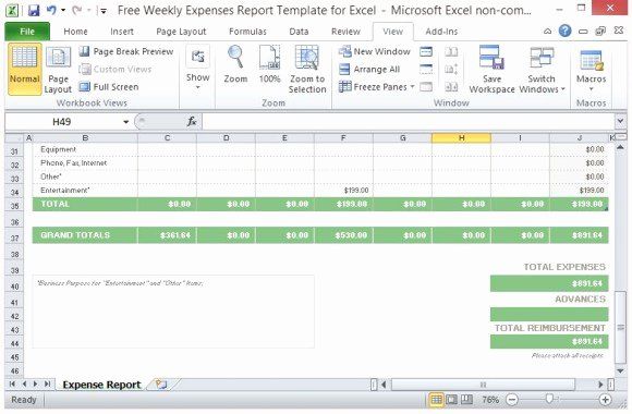 Monthly Expense Report Template Excel Awesome Free Weekly Expenses Report Template for Excel