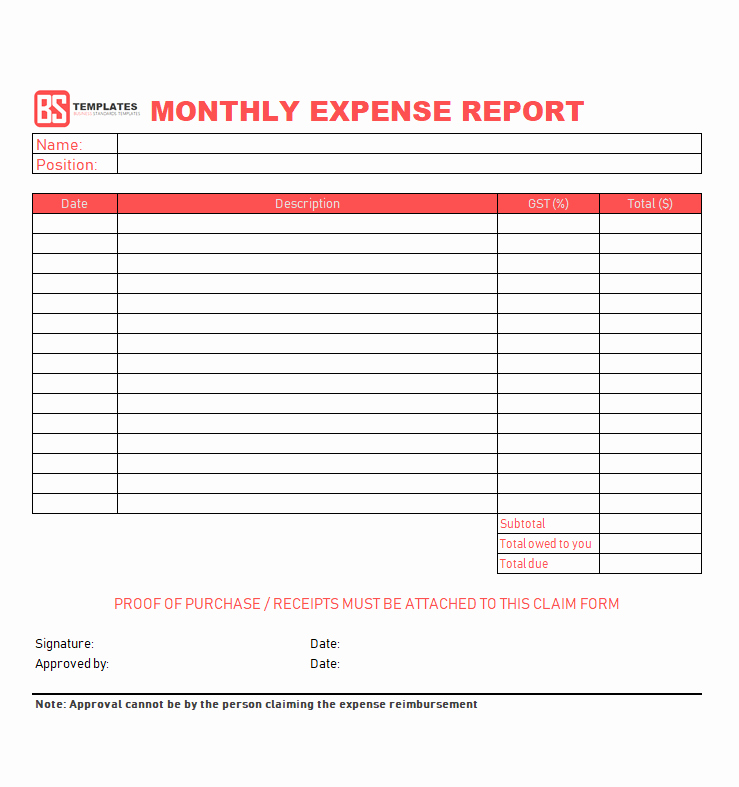 Monthly Expense Report Template Excel Elegant 10 Expense Report Template Monthly Weekly Printable