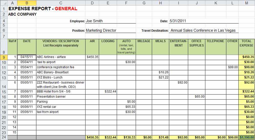 Monthly Expense Report Template Excel Luxury Excel Template Expense Report