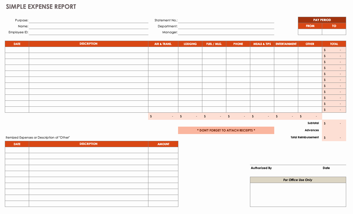 Monthly Expense Report Template Inspirational Free Expense Report Templates Smartsheet