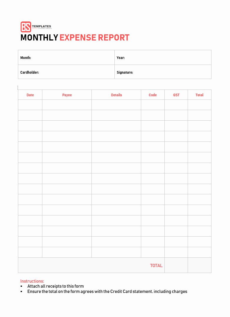 Monthly Expense Report Template Lovely 10 Expense Report Template Monthly Weekly Printable