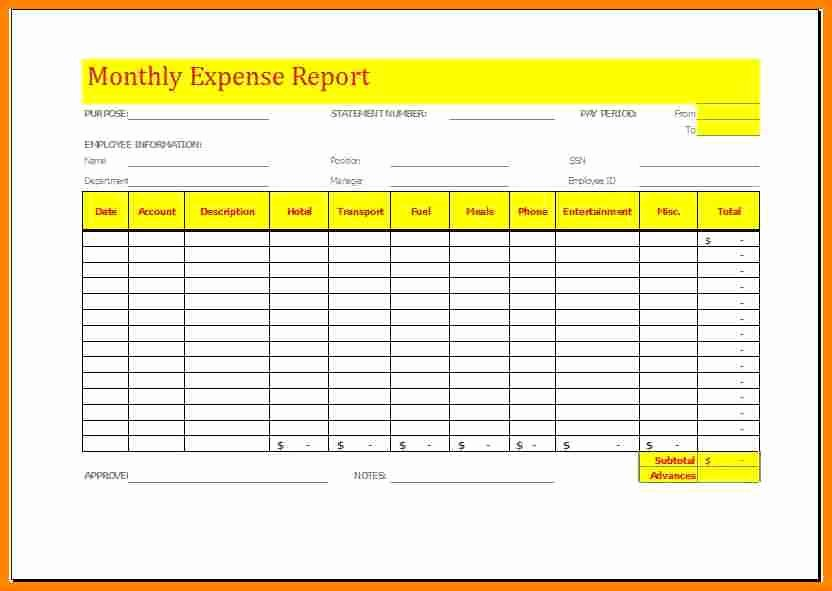 Monthly Expense Report Template New 6 Monthly Expense Report Template