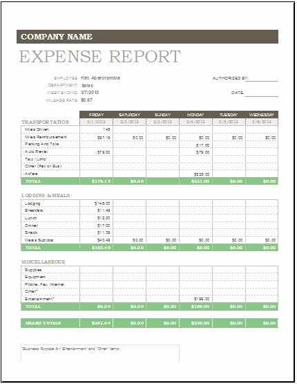 Monthly Expense Report Template New Daily Weekly & Monthly Expense Report Template