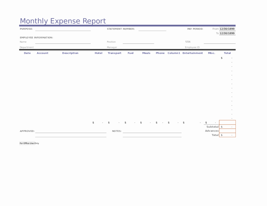 Monthly Expense Report Template New Expense Report Free Sample Expense Report Template & form