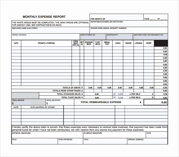 Monthly Expense Report Template Unique 9 Sample Expense Report Templates