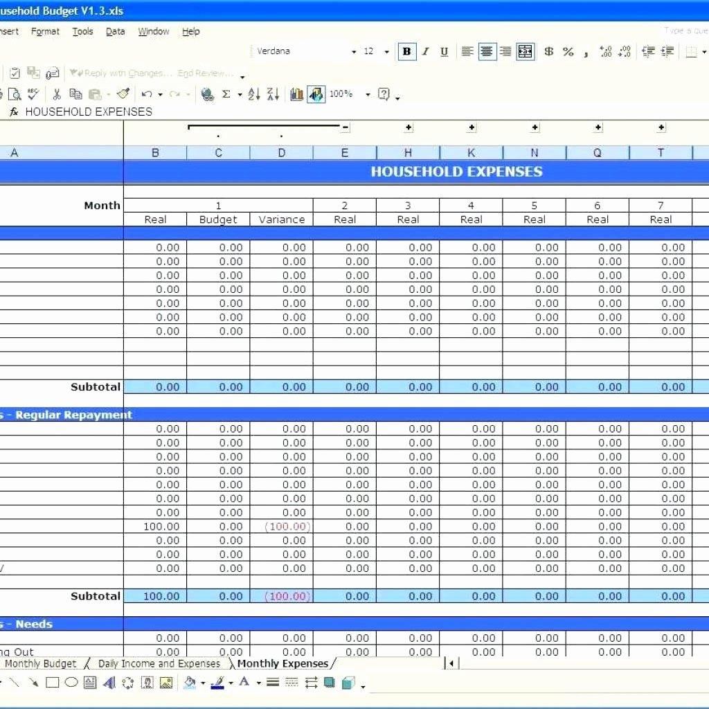 Monthly Expense Spreadsheet Template Awesome Template Template Monthly Bud