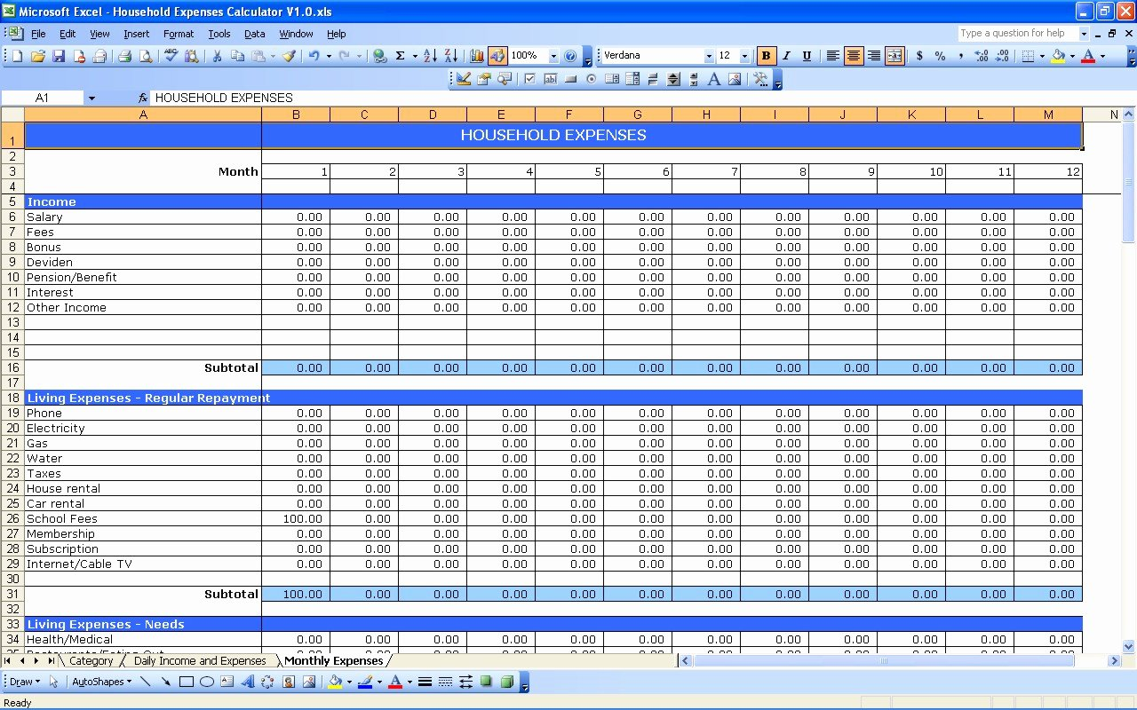 Monthly Expense Spreadsheet Template Lovely Household Expenses