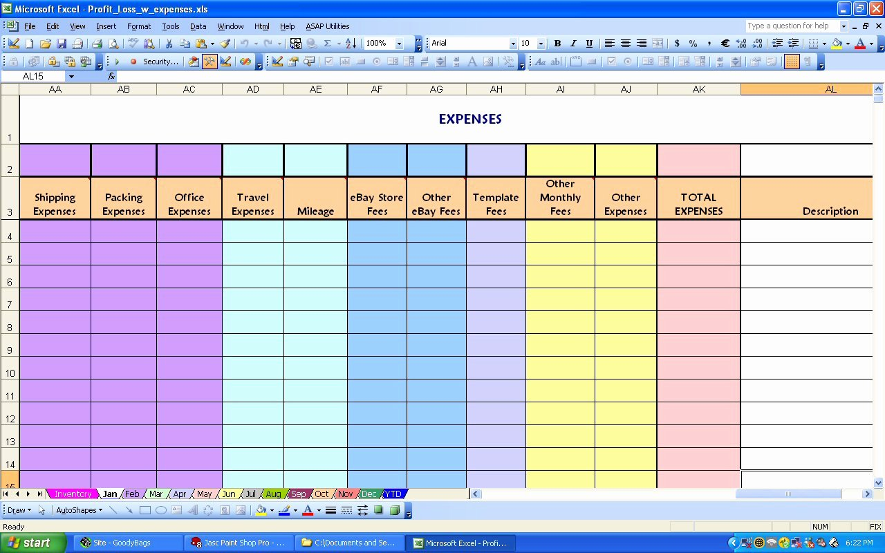 Monthly Expense Spreadsheet Template Luxury Ebay Profit & Loss with Monthly Expense Spreadsheet