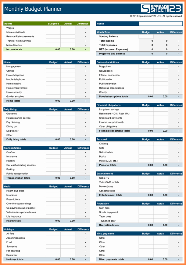 Monthly Expense Spreadsheet Template New 10 Monthly Expenses Spreadsheet Template Excel
