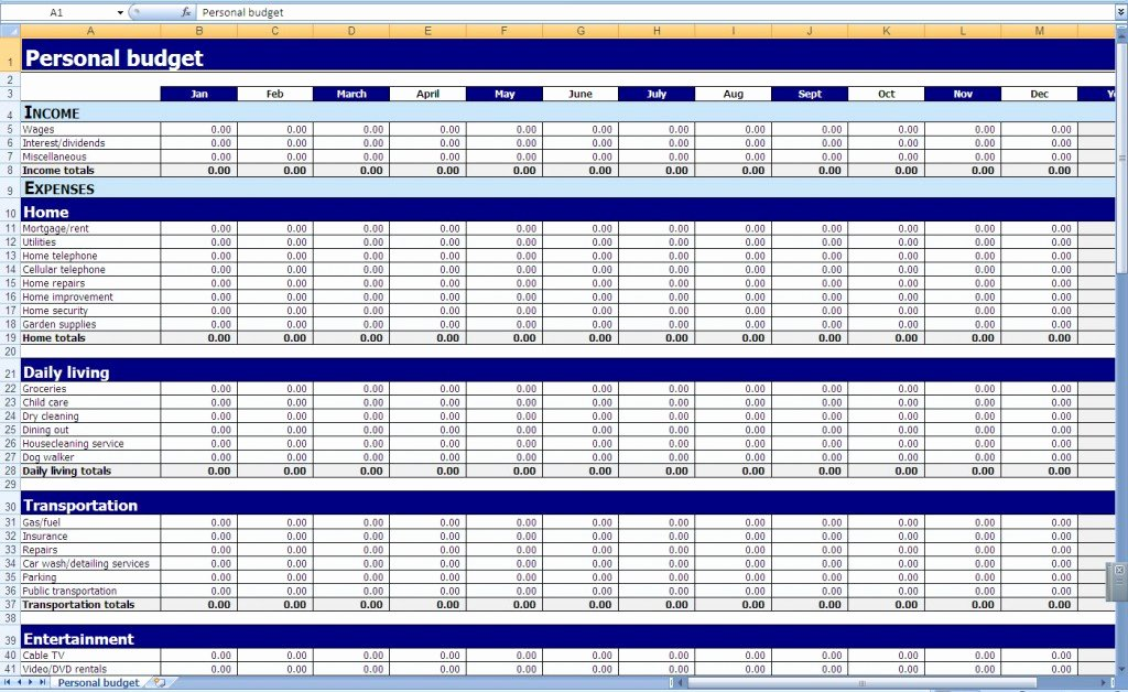 Monthly Expense Spreadsheet Template New Monthly and Yearly Bud Spreadsheet Excel Template