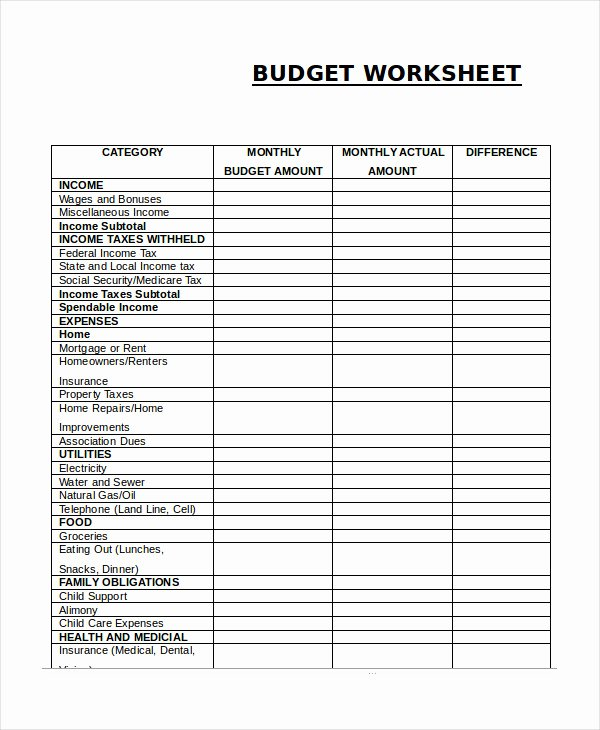 Monthly Expenses Spreadsheet Template New 14 Printable Bud Worksheet Templates Word Pdf
