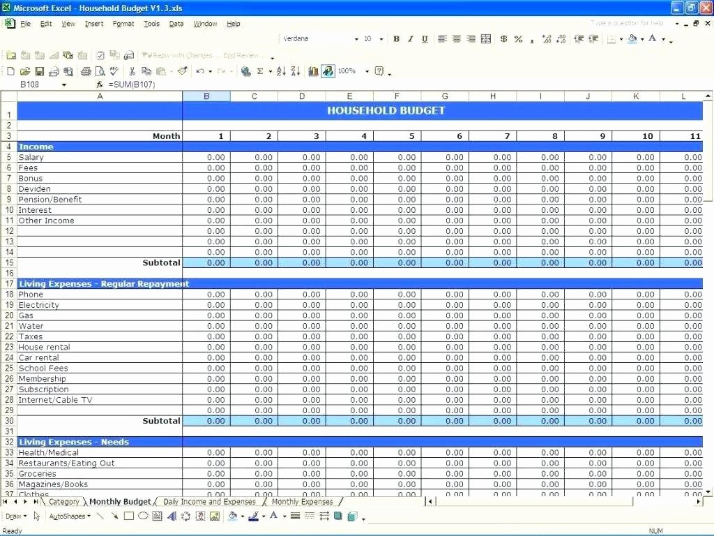 Monthly Income and Expenses Template Luxury Template Expenses Spreadsheet Template Excel