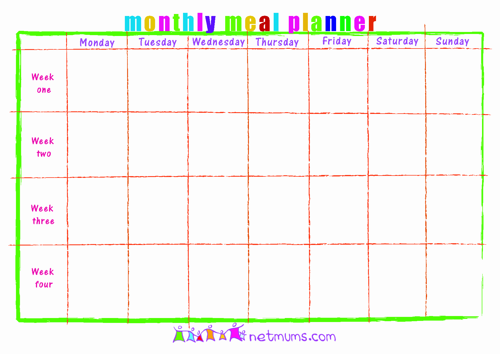 Monthly Meal Planner Template Awesome 28 Useful Printable Monthly Meal Planners