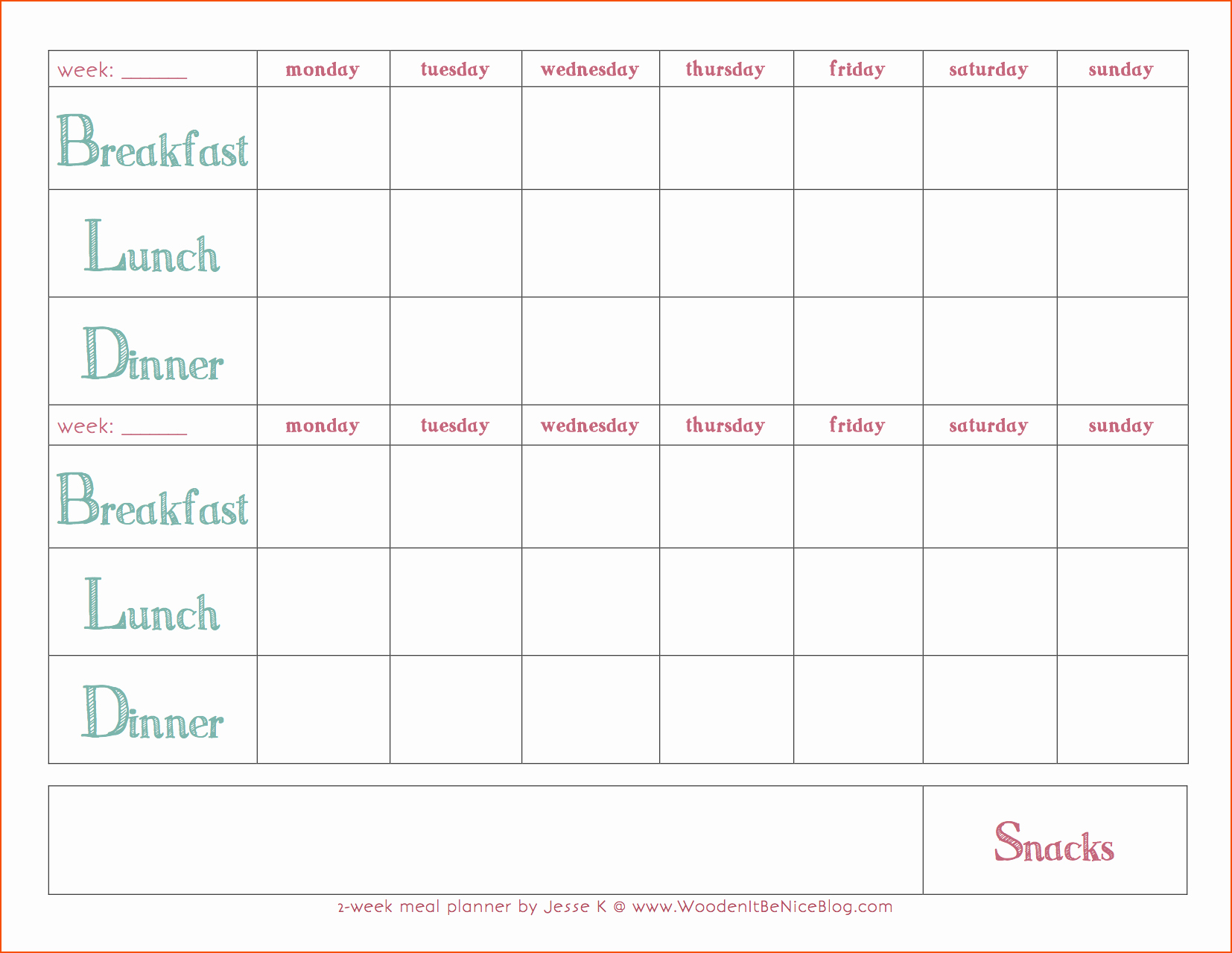 Monthly Meal Planner Template Elegant 8 Weekly Meal Plan Template Bookletemplate