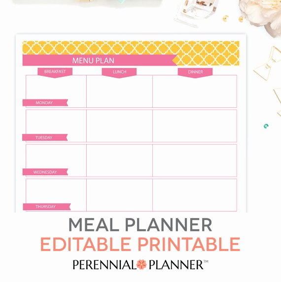 Monthly Meal Planner Template Elegant Menu Plan Weekly Meal Planning Template Printable Editable