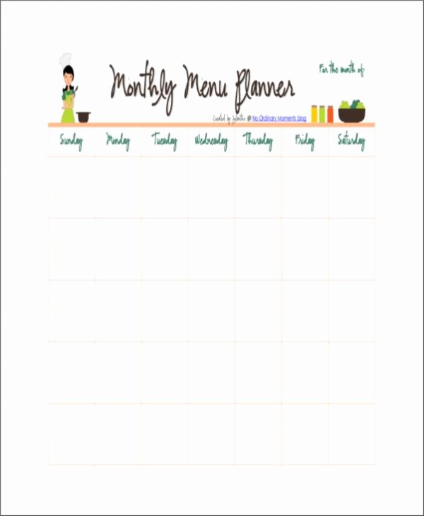 Monthly Meal Planner Template Fresh 17 Free Planner Samples & Templates
