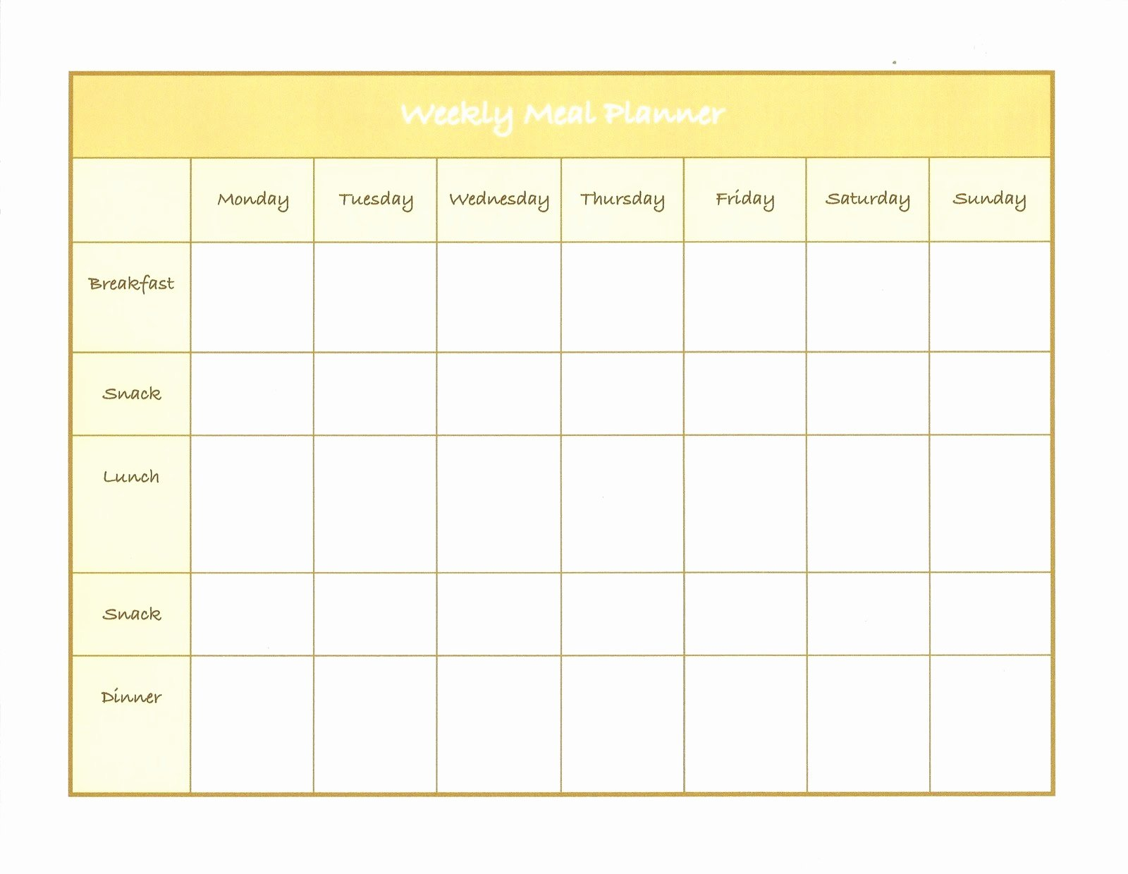 Monthly Meal Planner Template Luxury Weekly Menu Template