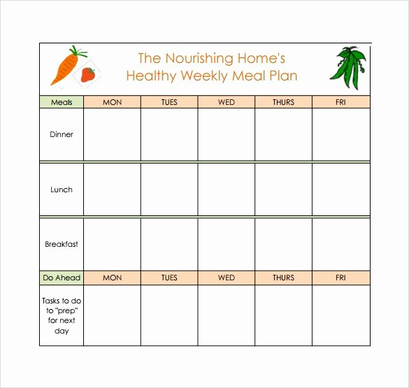 Monthly Meal Planner Template New 18 Meal Planning Templates Pdf Excel Word