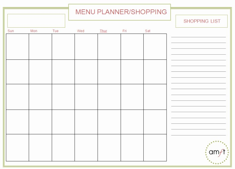 Monthly Meal Planner Template New 8 Best Of Printable Monthly Dinner Planner
