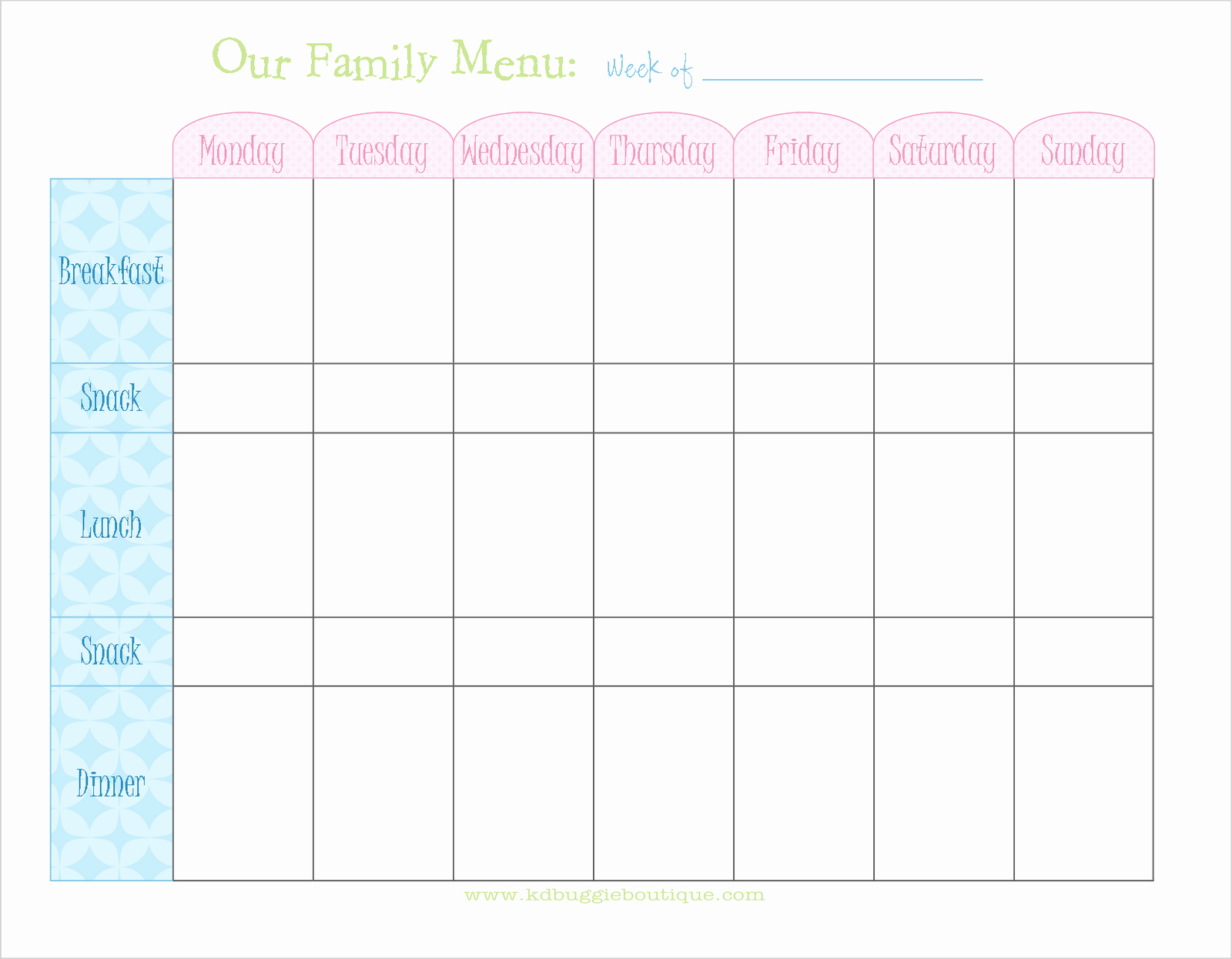 Monthly Meal Planner Template New Freebie Weekly Menu Planner Download Naturally Creative