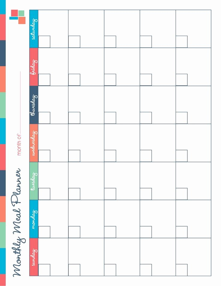Monthly Meal Planner Template New Monthly Meal Planner Template