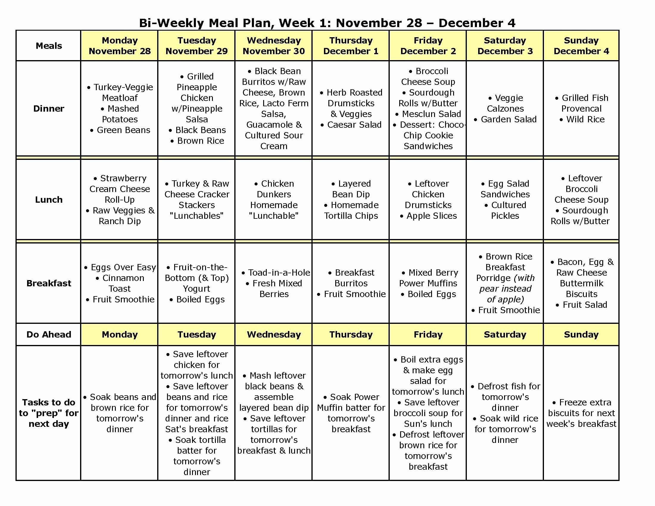 Monthly Meal Planner Template Unique Bi Weekly Meal Plan 9a Has Recipes too