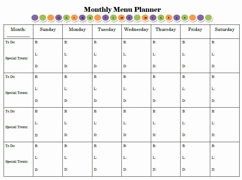 Monthly Meal Planner Template Unique Menu Planning Archives • Using Time Wisely