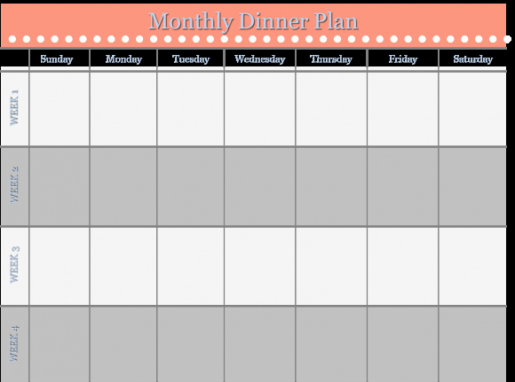 Monthly Meal Planner Template Unique Monthly Dinner Plan Template