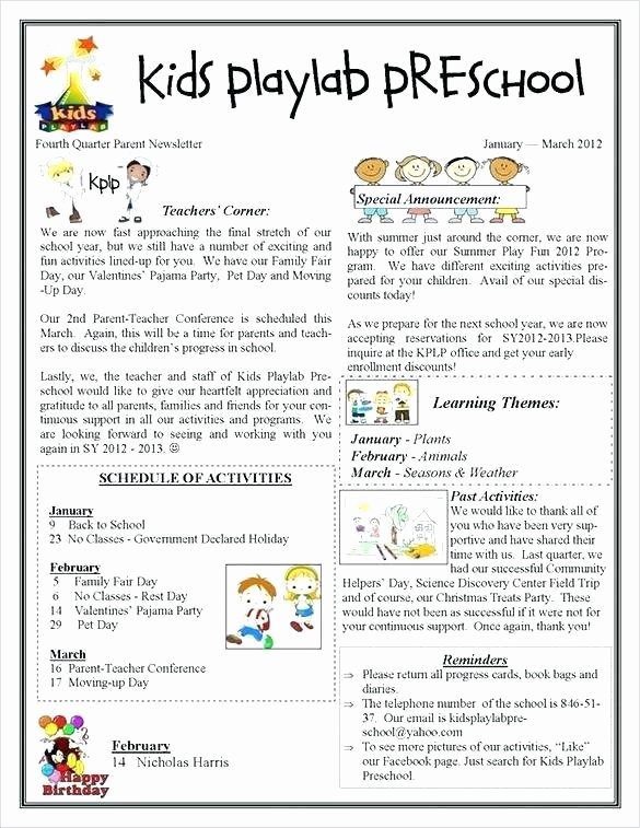 Monthly Newsletter Template for Teachers Awesome Monthly Newsletter Template for Teachers – Picks