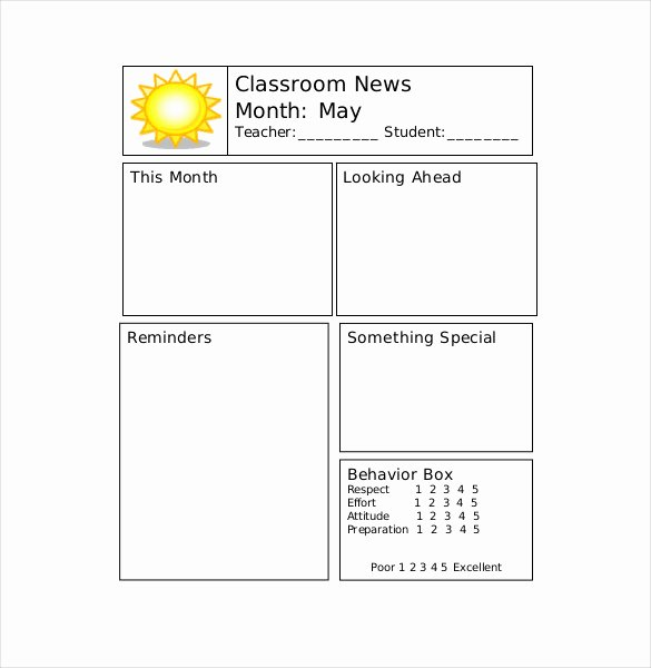Monthly Newsletter Template for Teachers Beautiful 9 Teacher Newsletter Templates – Free Sample Example