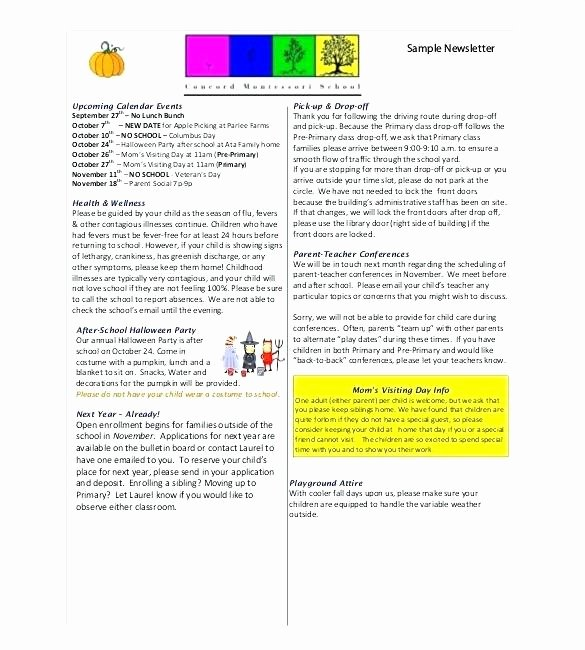 Monthly Newsletter Template for Teachers Beautiful Preschool Newsletter to Let Board Template Resolution