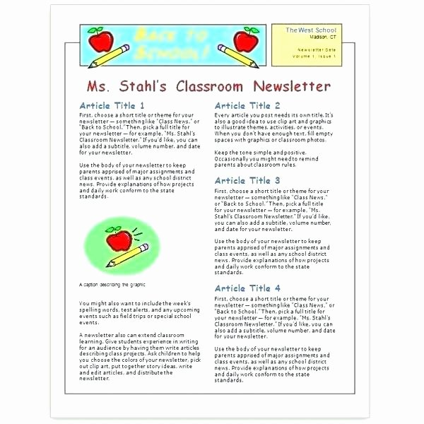 Monthly Newsletter Template for Teachers Best Of Preschool Newsletter Template for Children Free Printable