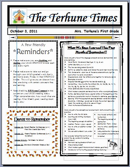Monthly Newsletter Template for Teachers Best Of Teaching with Terhune Monthly Newsletters