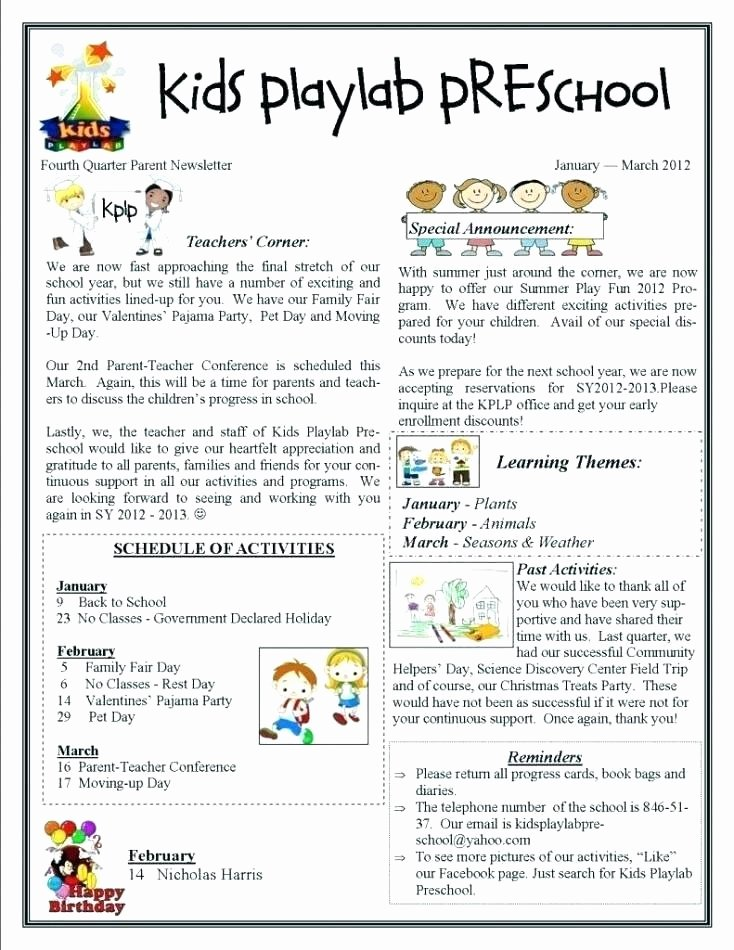 Monthly Newsletter Template for Teachers Best Of Valentine Newsletter Templates Free – Nyani