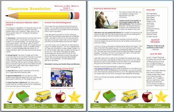 Monthly Newsletter Template for Teachers Best Of Worddraw Free Classroom Newsletter Template