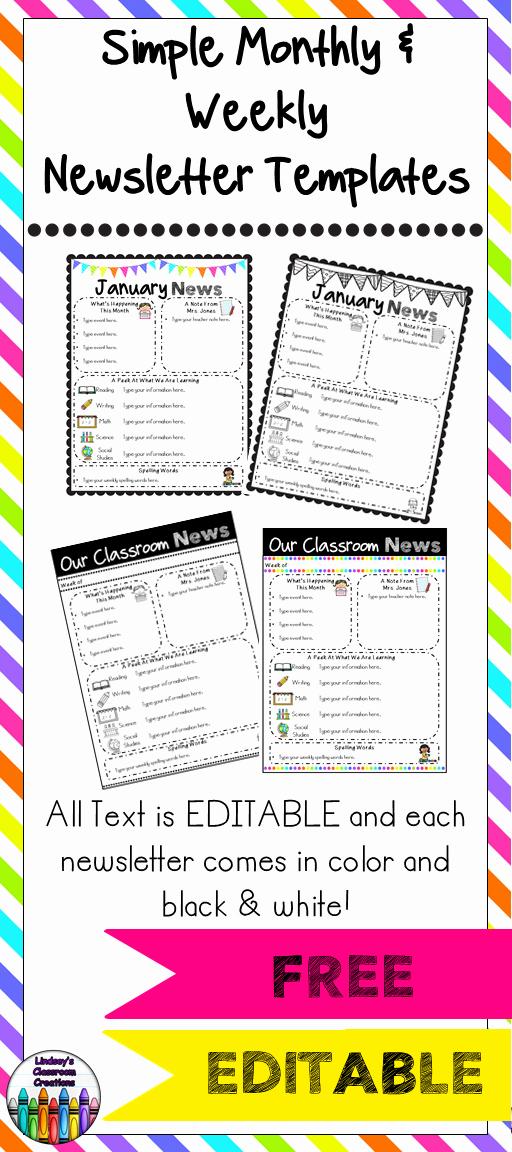 Monthly Newsletter Template for Teachers Elegant Editable Classroom Newsletter Templates Color & Black