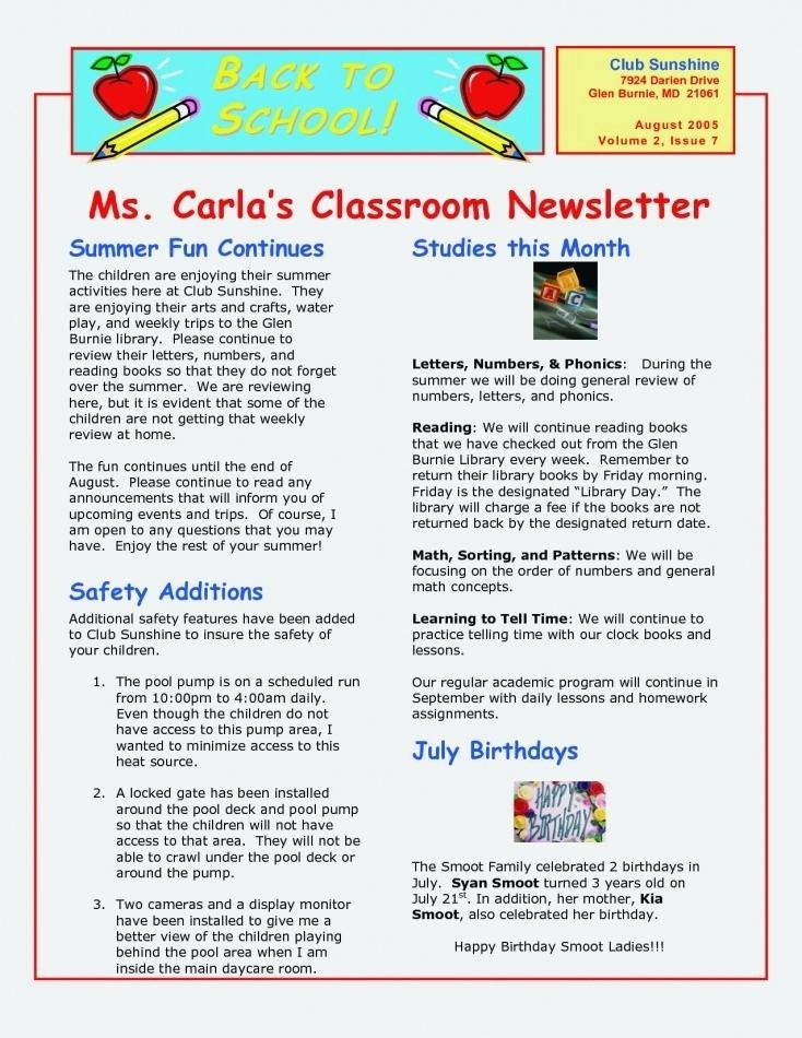 Monthly Newsletter Template for Teachers Fresh Great Monthly Newsletter Templates Free 8 Best