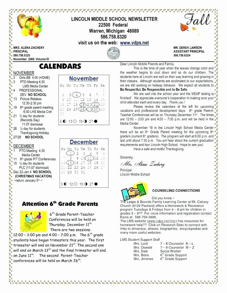 Monthly Newsletter Template for Teachers Inspirational Classroom Newsletter Template Free Templates Editable for