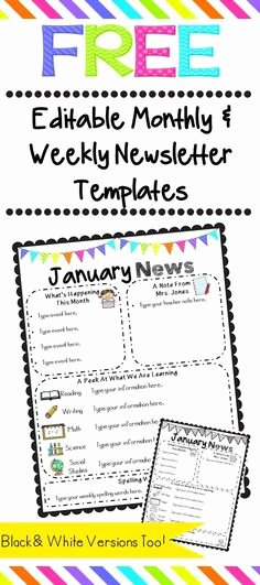 Monthly Newsletter Template for Teachers Inspirational Weekly Newsletter Templates for Teachers
