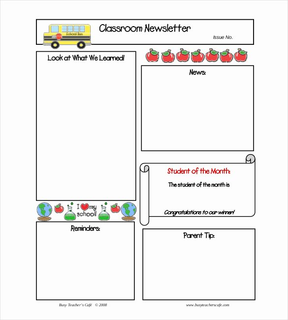 Monthly Newsletter Template for Teachers Lovely 9 Monthly Newsletter Templates Free Sample Example