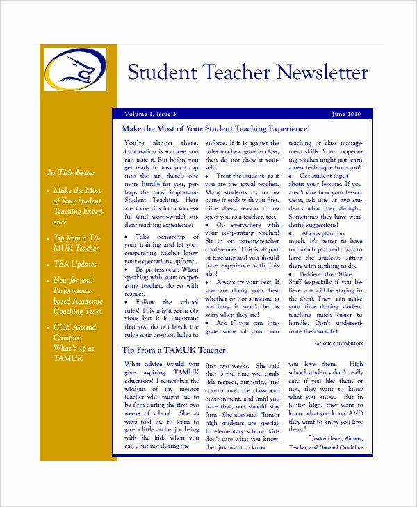 Monthly Newsletter Template for Teachers Luxury 7 Teacher Newsletter Templates