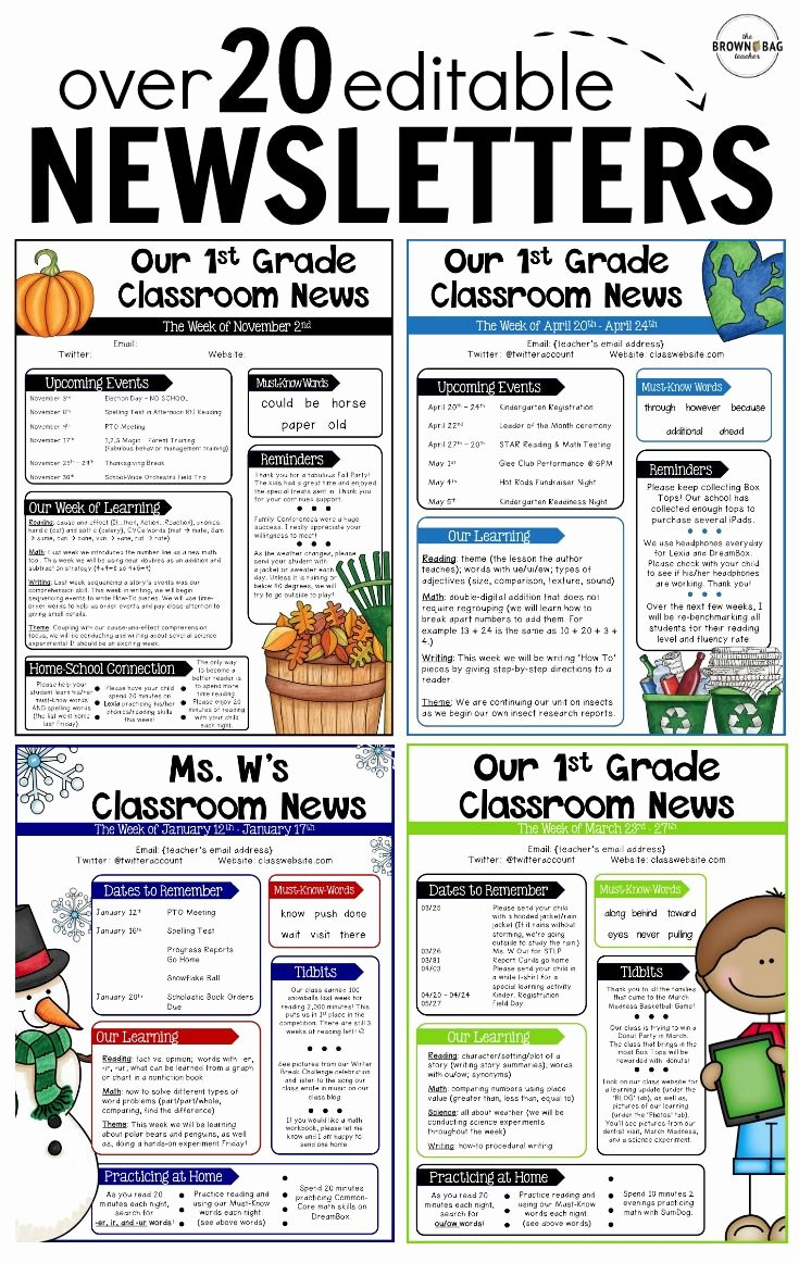 Monthly Newsletter Template for Teachers Luxury Editable Newsletter Templates Back to School