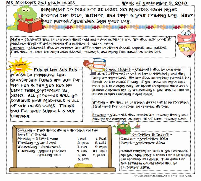 Monthly Newsletter Template for Teachers Luxury Free Teacher Newsletter Templates Downloads