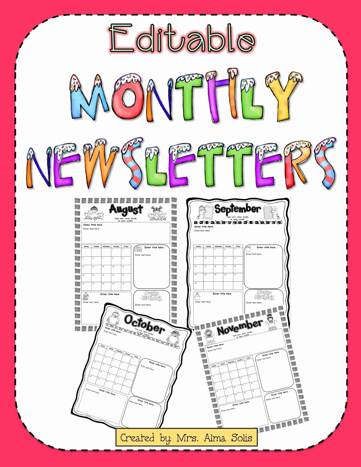 Monthly Newsletter Template for Teachers New Mrs solis S Teaching Treasures Monthly Newsletters