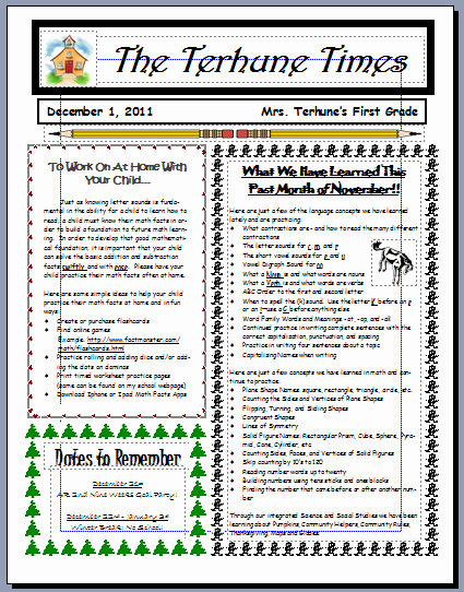 Monthly Newsletter Template for Teachers Unique Teaching with Terhune Monthly Newsletters