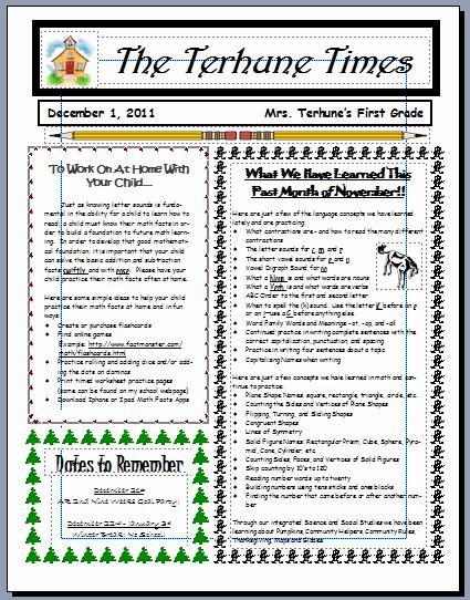 Monthly Newsletter Template for Teachers Unique Teaching with Terhune Monthly Newsletters