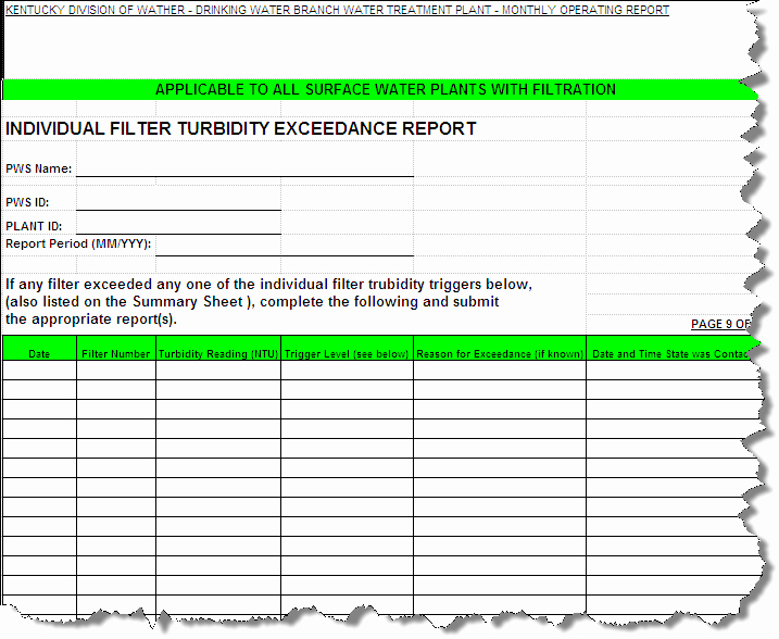 Monthly Operations Report Template Inspirational Kentucky Drinking Water Report Templates [q ]